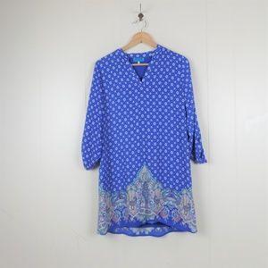 Buttona Shirt Dress With Tab Sleeve M